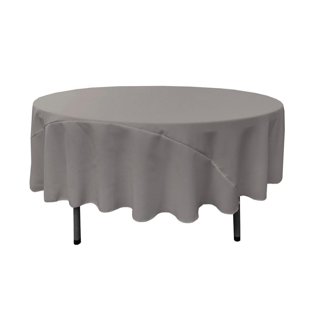 90 in. Dark Gray Polyester Poplin Round Tablecloth