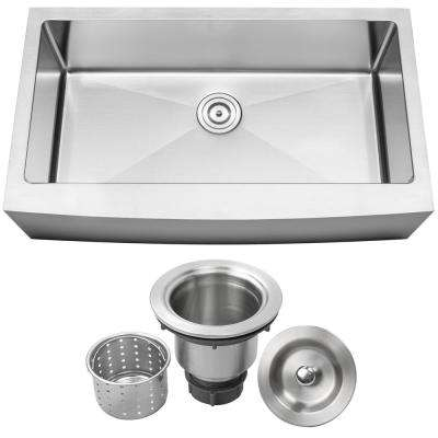 Bryce Farmhouse Apron Front 16-Gauge Stainless Steel 36 in. Single Basin Kitchen Sink with Basket Strainer
