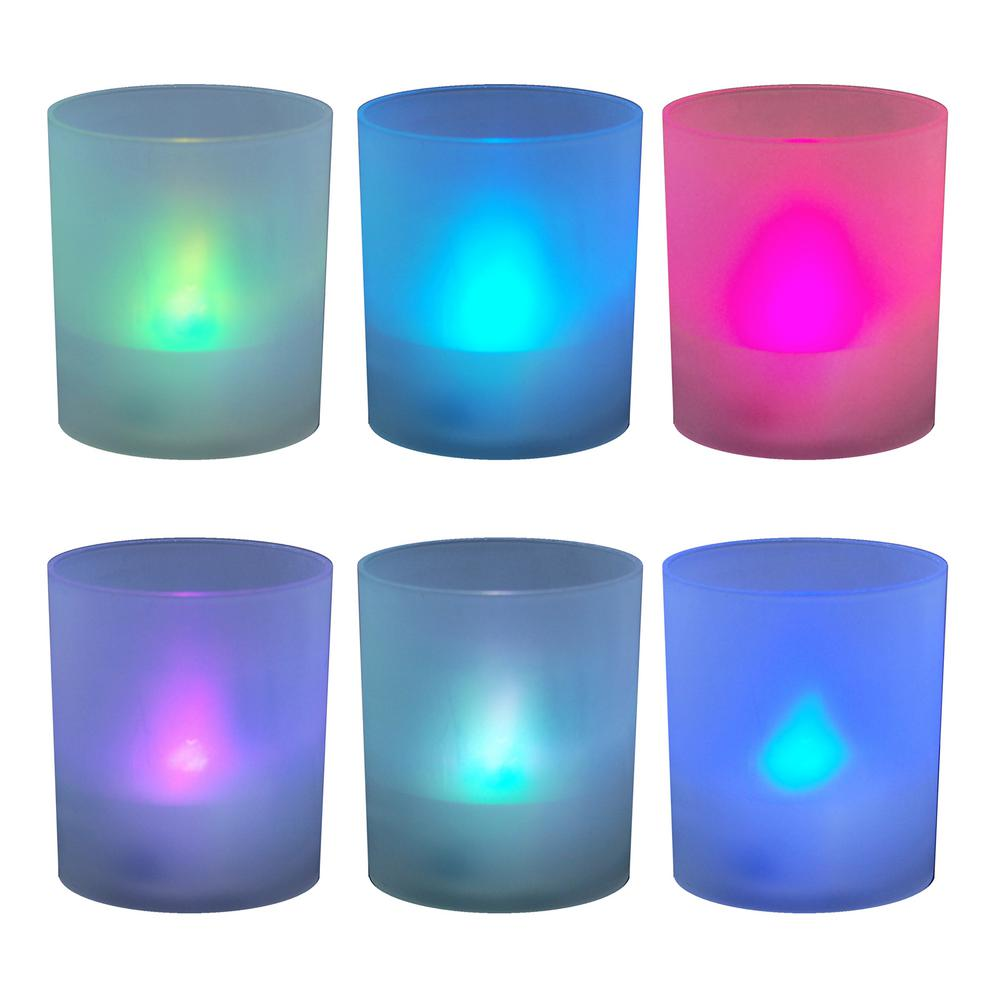 Flames Votive Candles 2.25 in. Color Changing Plastic Frosted Holders ( 6 Count)