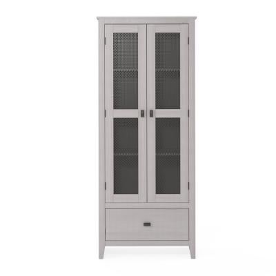 System Build Luca 30 in. Ivory Oak Wide Storage Cabinet with Mesh Doors