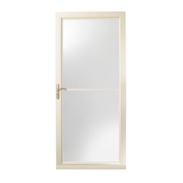 36 in. x 80 in. 3000 Series Almond Left-Hand Self-Storing Easy Install Aluminum Storm Door with Brass Hardware