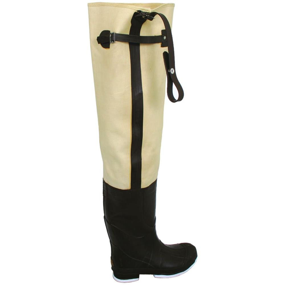 Calcutta Mens Size 13 Canvas Rubber Waterproof Insulated Adjustable Strap Knee Harness Felt Soles Hip Boots in Tan
