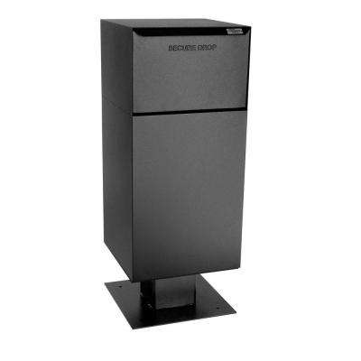 Centralized Delivery Vault Mailboxes with Pedestal in Black