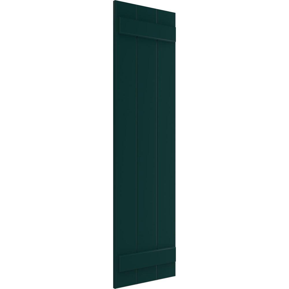 Ekena Millwork 16 1 8 X 33 True Fit Pvc Three Board Joined Board N Batten Shutters Thermal Green Per Pair 1572855 The Home Depot