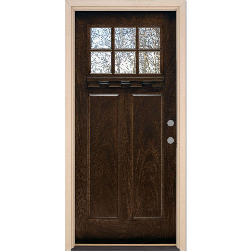 Feather River Doors 37.5 in. x 81.625 in. 6 Lite Craftsman Stained Chestnut Mahogany Left-Hand Inswing Fiberglass Prehung Front Door