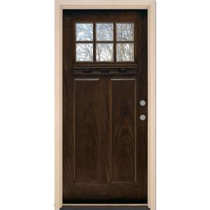 Feather River Doors 37.5 in. x 81.625 in. 6 Lite Craftsman Stained Chestnut Mahogany Left-Hand Inswing Fiberglass Prehung Front Door-FF3790 - The Home Depot  sc 1 st  The Home Depot & Feather River Doors 37.5 in. x 81.625 in. 6 Lite Craftsman Stained ...