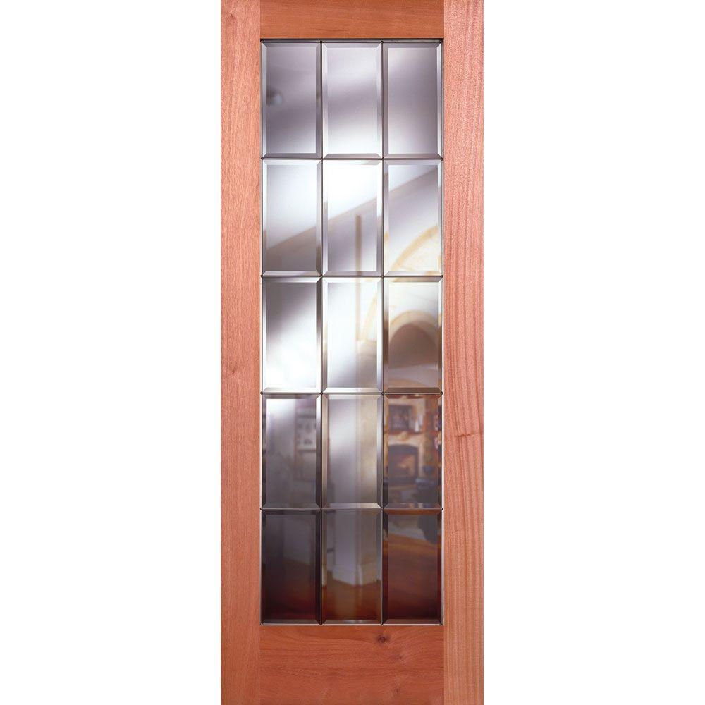 Feather River Doors 36 In X 80 In 15 Lite Unfinished Mahogany Clear Bevel Zinc Woodgrain