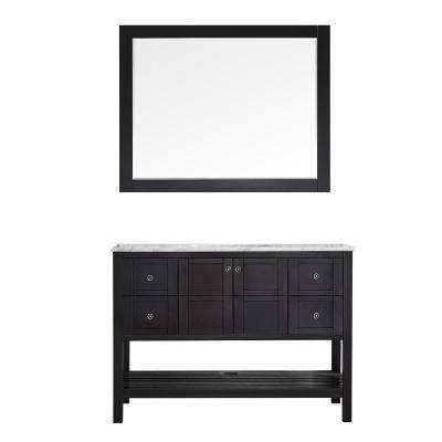Florence 48 in. W x 22 in. D x 35 in. H Vanity in Espresso with Marble Vanity Top in White with Basin and Mirror