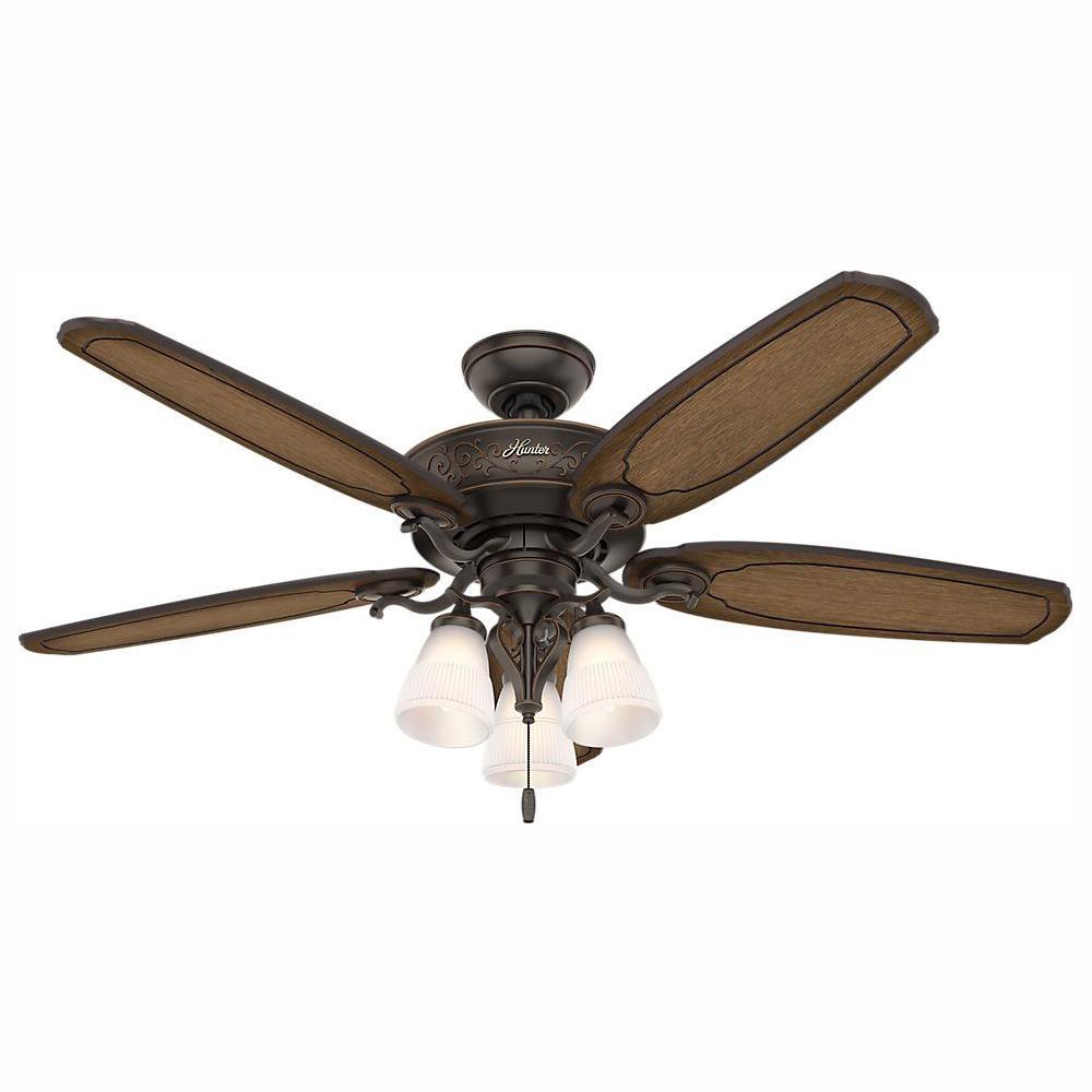 Hunter Osbourne 54 in. LED Indoor Onyx Bengal Ceiling Fan