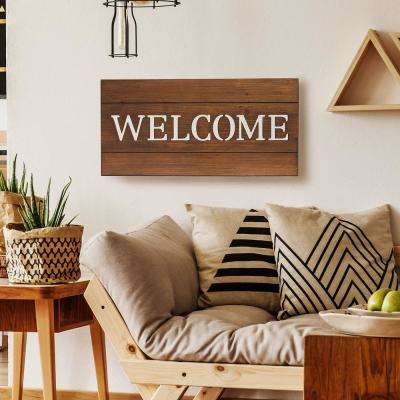 Welcome Wood Plank Decorative Sign