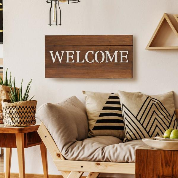 Pinnacle Welcome Cut Out Wood Plank Wall Art Decor 1805 3716 The Home Depot