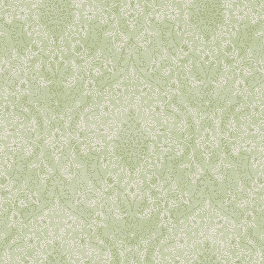 Essex Green Lacey Damask Wallpaper