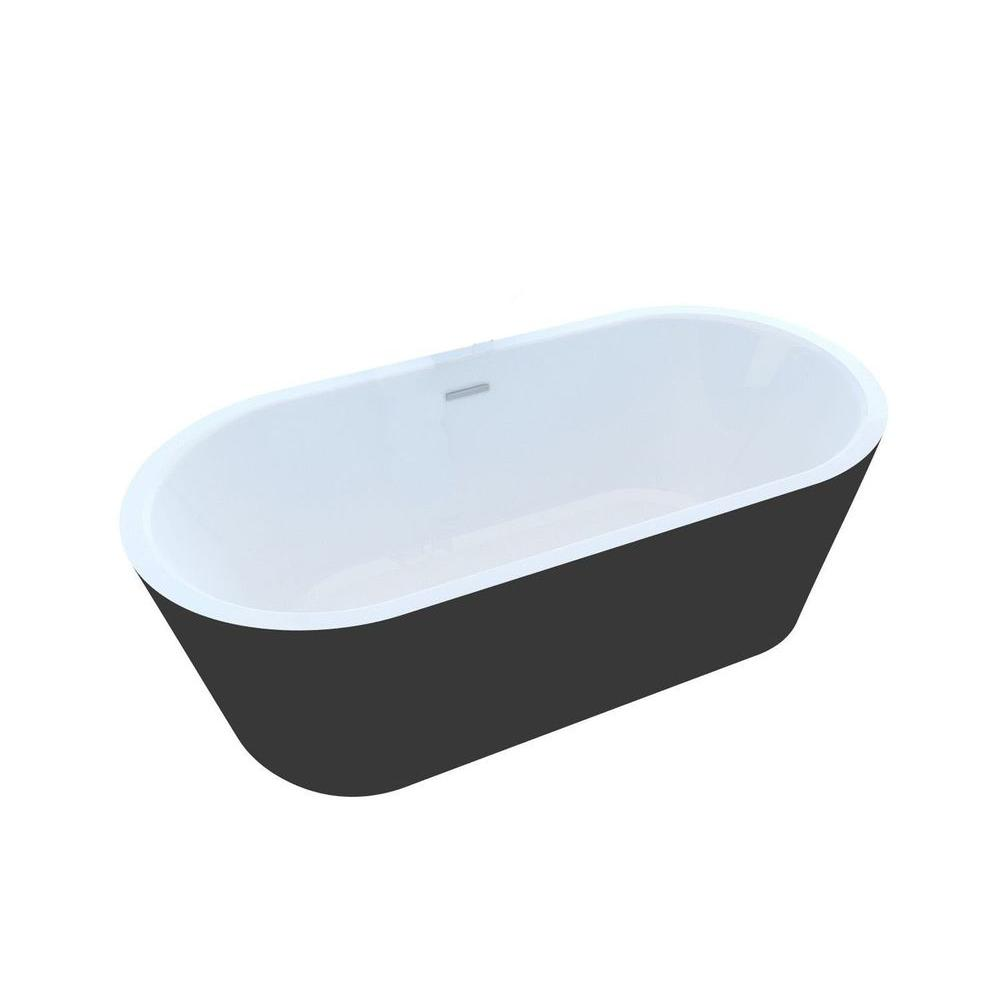 Acrylic Center Drain Oval Bathtub In White And Black