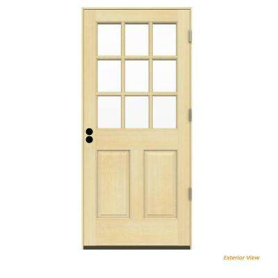 36 in. x 80 in. 9 Lite Unfinished Wood Prehung Left-Hand Outswing Front Door w/Unfinished Rot Resistant Jamb