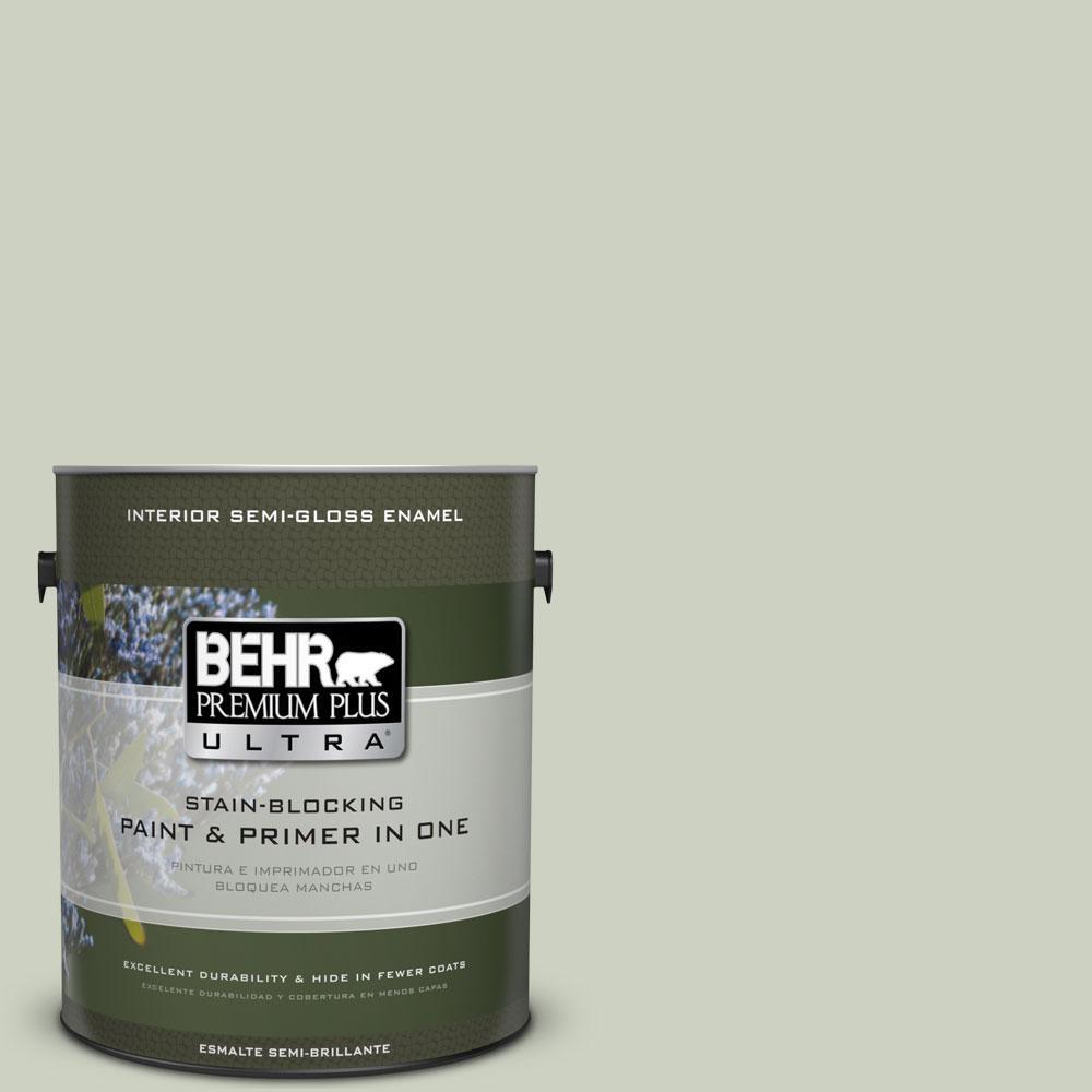 BEHR Premium Plus Ultra 1-gal. #PPU10-11 Sliced Cucumber Semi-Gloss Enamel Interior Paint