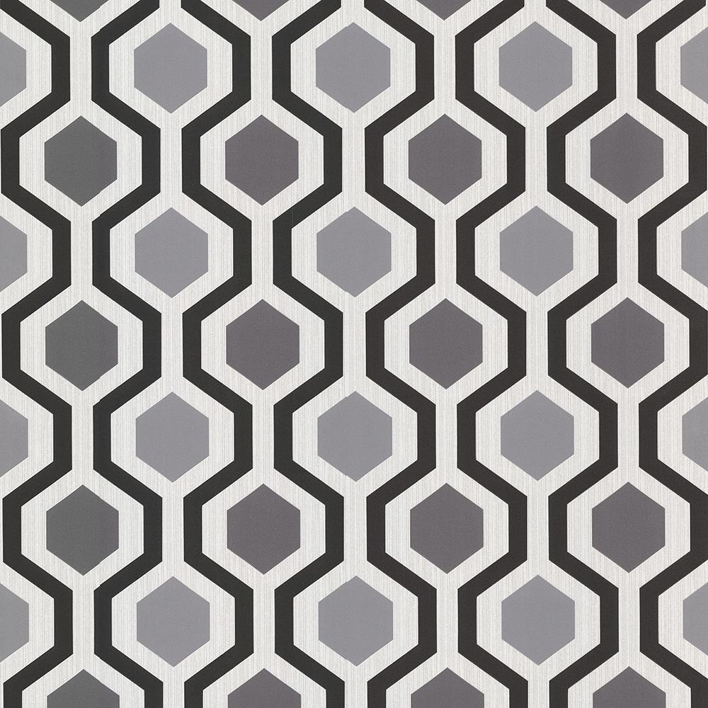 56.4 sq. ft. Marina Black Modern Geometric Wallpaper