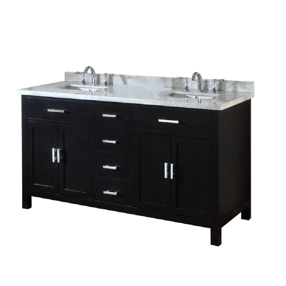 Hutton Spa 63 in. Double Vanity in Ebony with Marble Vanity