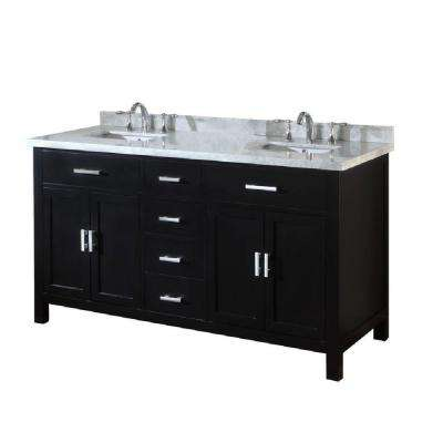 Hutton Spa 63 in. Double Vanity in Ebony with Marble Vanity Top in Carrara White