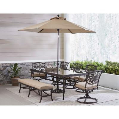 Traditions 7-Piece Aluminum Outdoor Dining Set with Tan Cushions with Bench, Glass-Top Table, and Umbrella with Stand