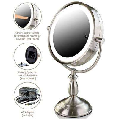 SmartTouch Cool Warm Daylight LED Tones Magnifying Lighted Tabletop Mirror with 1x or 5x Magnification