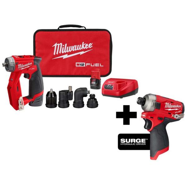 M12 FUEL 12-Volt Lithium-Ion Brushless Cordless 4-in-1 Installation 3/8in. Drill Driver & SURGE Impact Driver Combo Kit