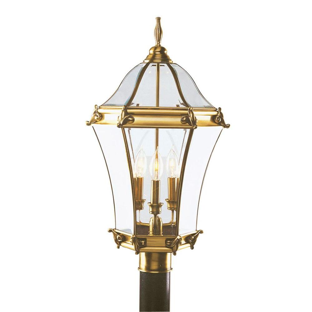 Livex Lighting 3-Light Outdoor Flemish Brass Incandescent Post Lantern