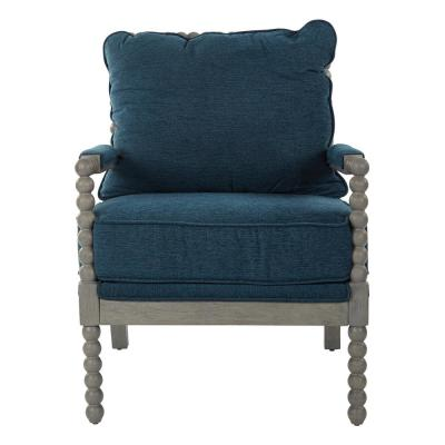 Abbot Azure Fabric Chair with Brushed Grey Base