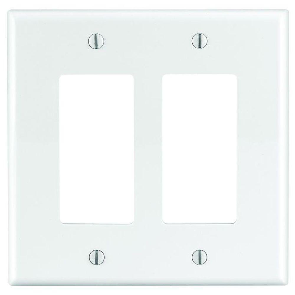 2-Gang Decora Wall Plate, Nylon White