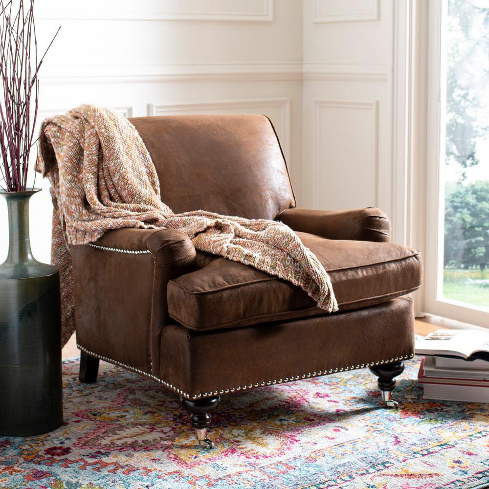 Safavieh Chloe Brown/Espresso Faux Leather Club Arm Chair
