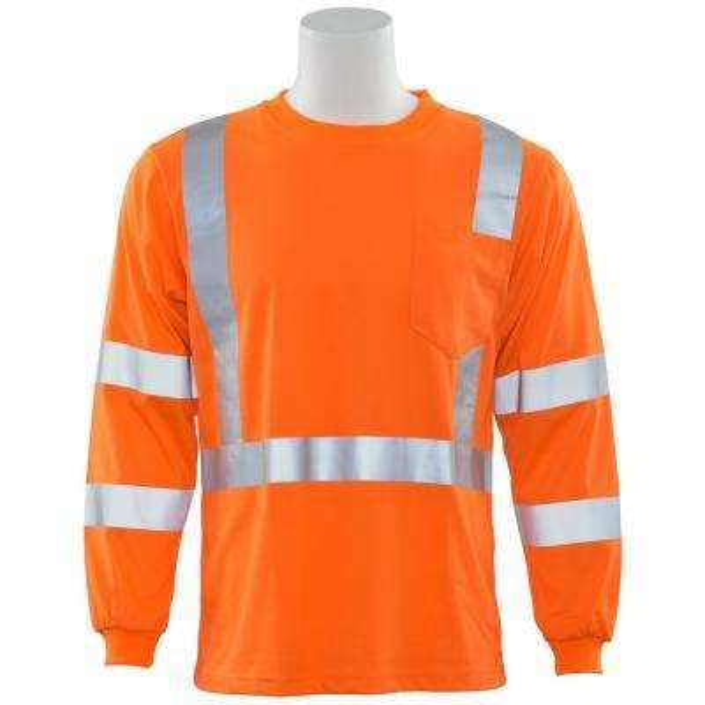 9802S L Class 3 Long Sleeve Hi Viz Orange Poly Jersey Knit T-Shirt