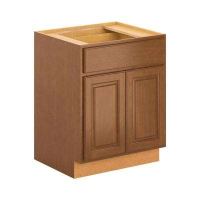 Madison Assembled 27x34.5x24 in. Base Cabinet with Soft Close Drawer in Cognac
