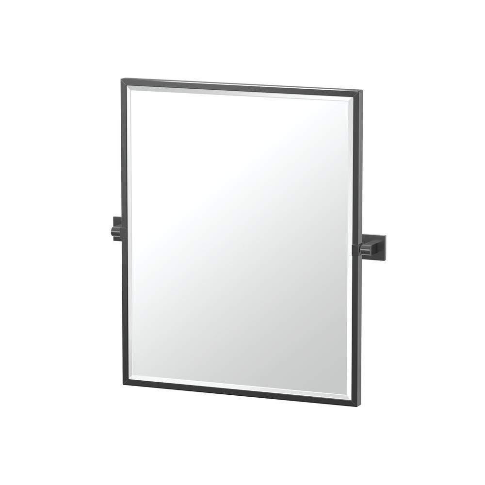 Gatco Elevate 25 in. x 23.63 in. Framed Rectangle Mirror in Matte Black