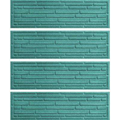 Aquamarine 8.5 in. x 30 in. Broken Brick Stair Tread Cover (Set of 4)