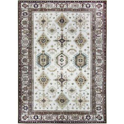 Washable Noor Taupe 5 ft. x 7 ft. Stain Resistant Area Rug