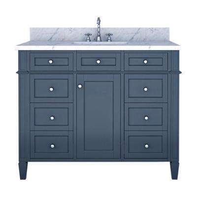 Samantha 42 in. W x 22 in. D Bath Vanity in Gray with Marble Vanity Top in White with White Basin