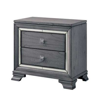 Tannon 2-Drawer Light Gray Nightstand