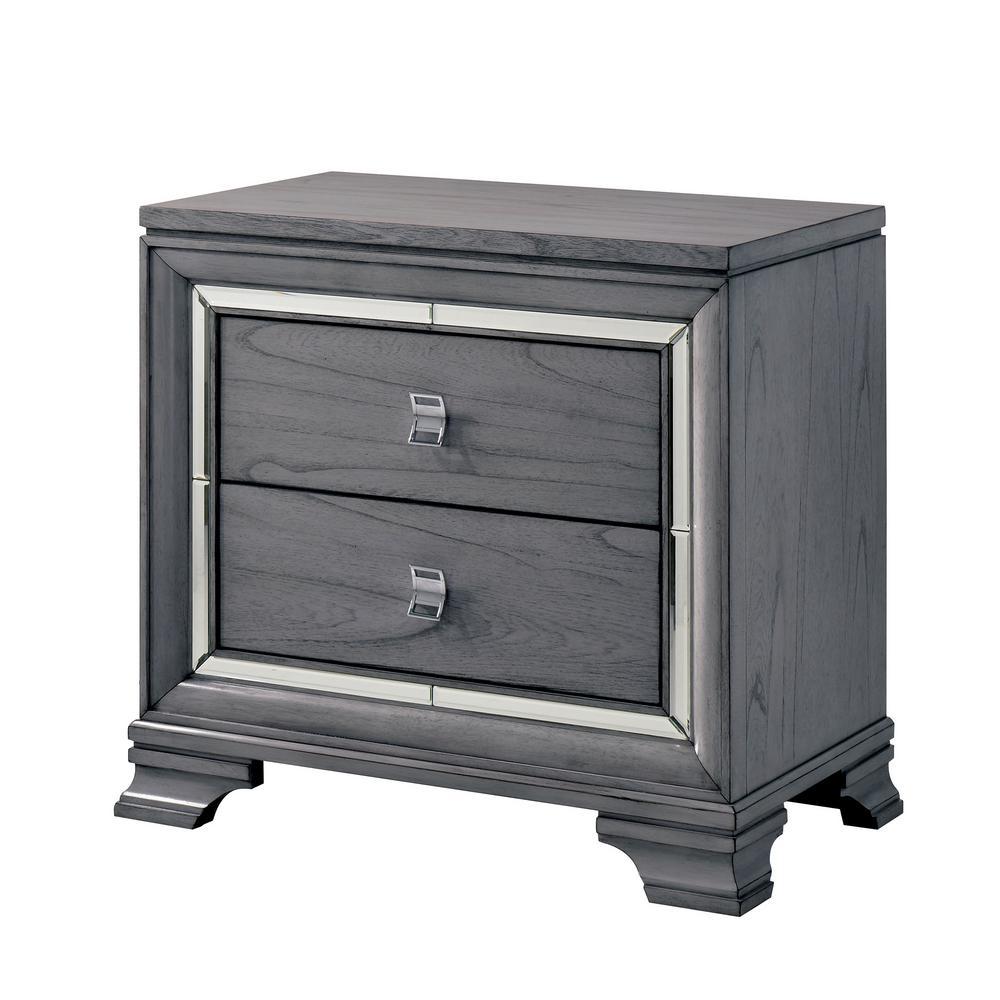 Furniture of America Tannon 2-Drawer Light Gray Nightstand IDF-7579N