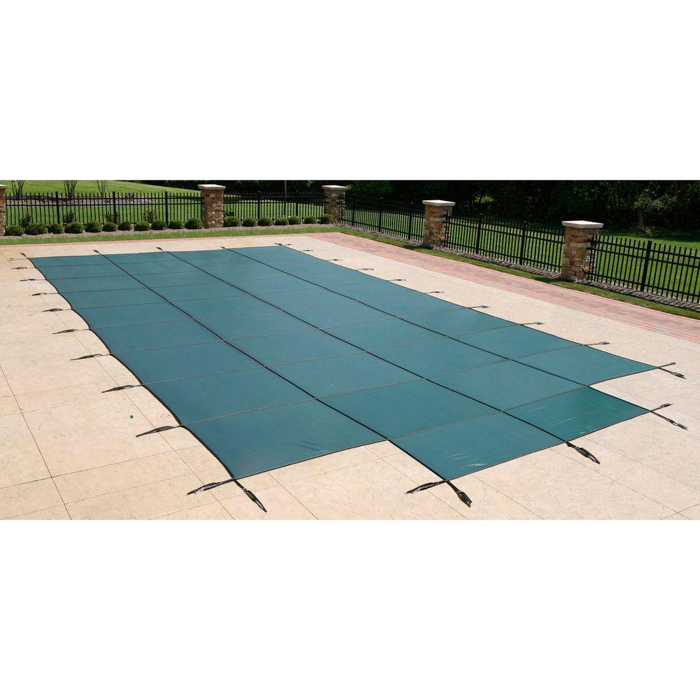 Blue Wave 16 ft. x 32 ft. Rectangular Green In-Ground Safety Pool Cover with 4 ft. x 8 ft. Center Step