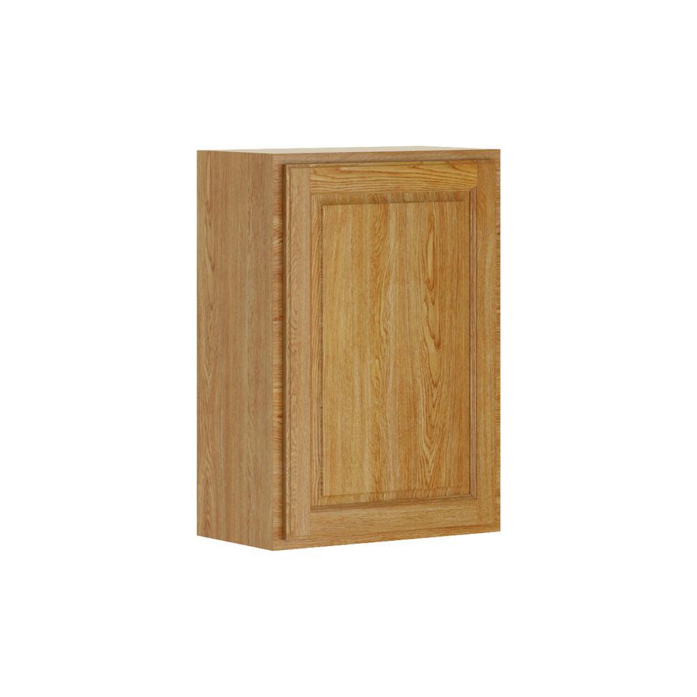 Madison Base Cabinets In Medium Oak: Hampton Bay Madison Assembled 30x24x15 In. Wall Deep