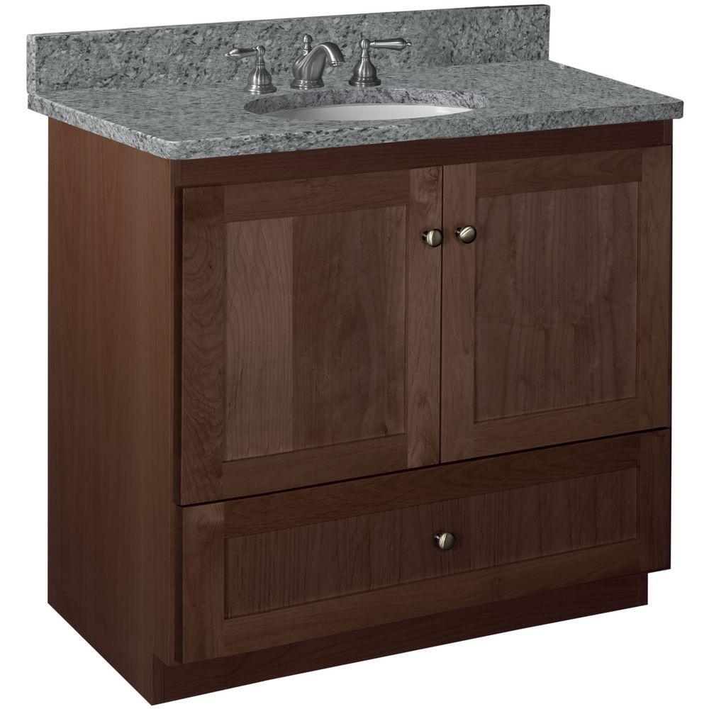 Shaker 36 in. W x 21 in. D x 34.5 in. H Vanity with No Side Drawers Cabinet Only in Dark Alder