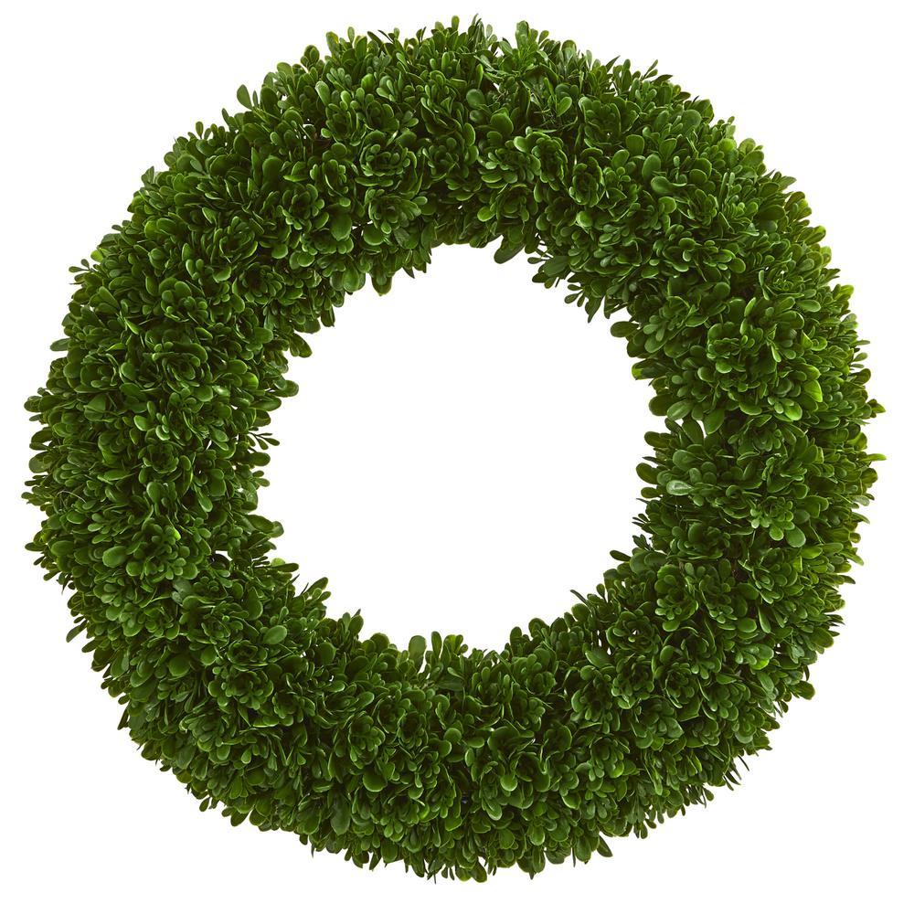 Indoor/Outdoor 19.5 in. Tea Leaf Wreath UV Resistant