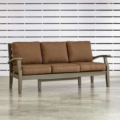 Verdon Gorge Gray 1-Piece Oiled Wood Outdoor Sofa with Brown Cushions