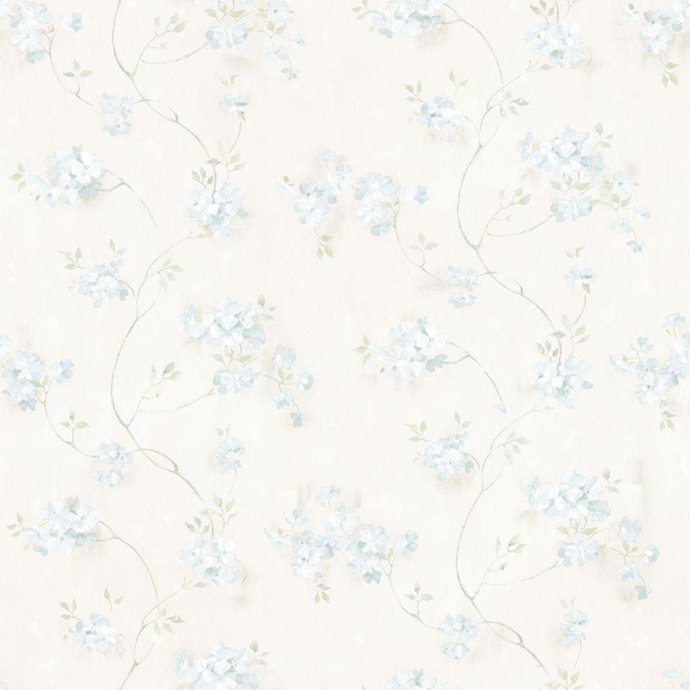 Rosemoor Aqua Country Floral Wallpaper