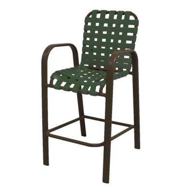 Marco Island Brownstone Commercial Grade Aluminum Bar Height Patio Dining Chair with Green Cross Vinyl Straps