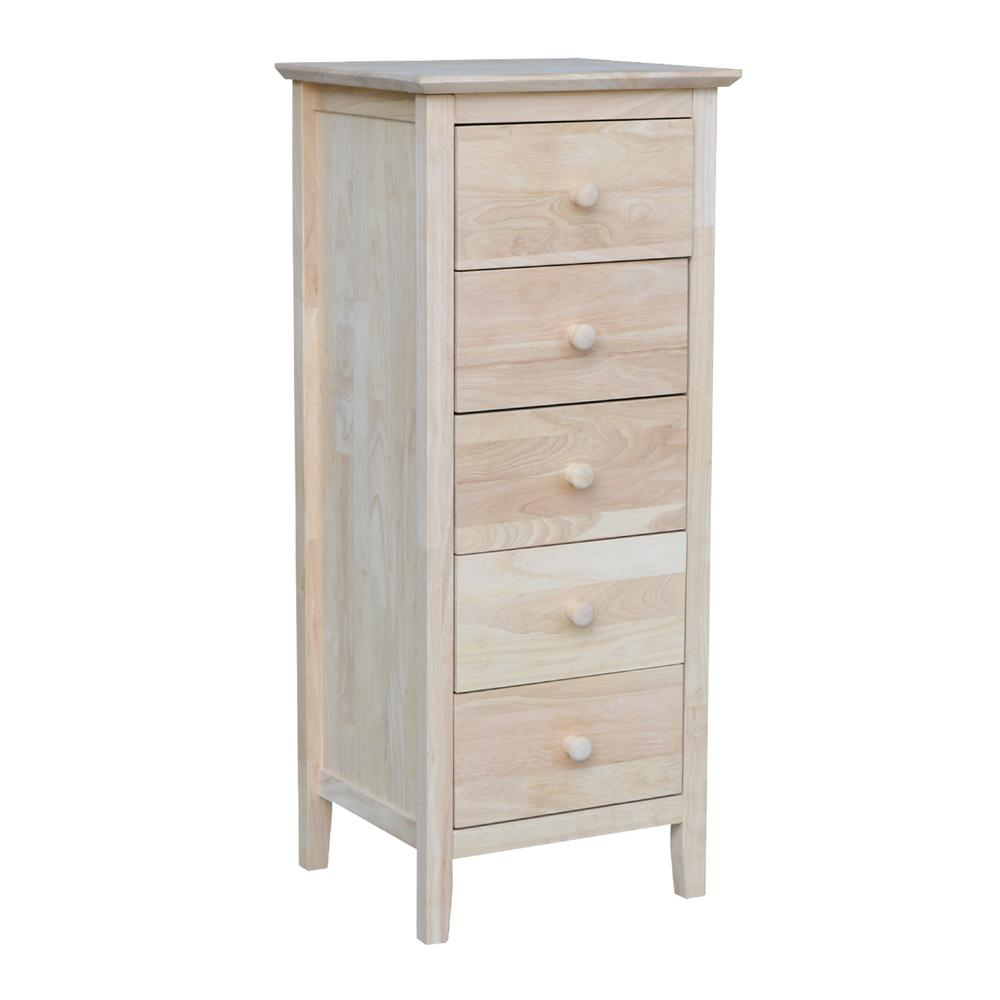 International Concepts Brooklyn 5 Drawer Unfinished Wood