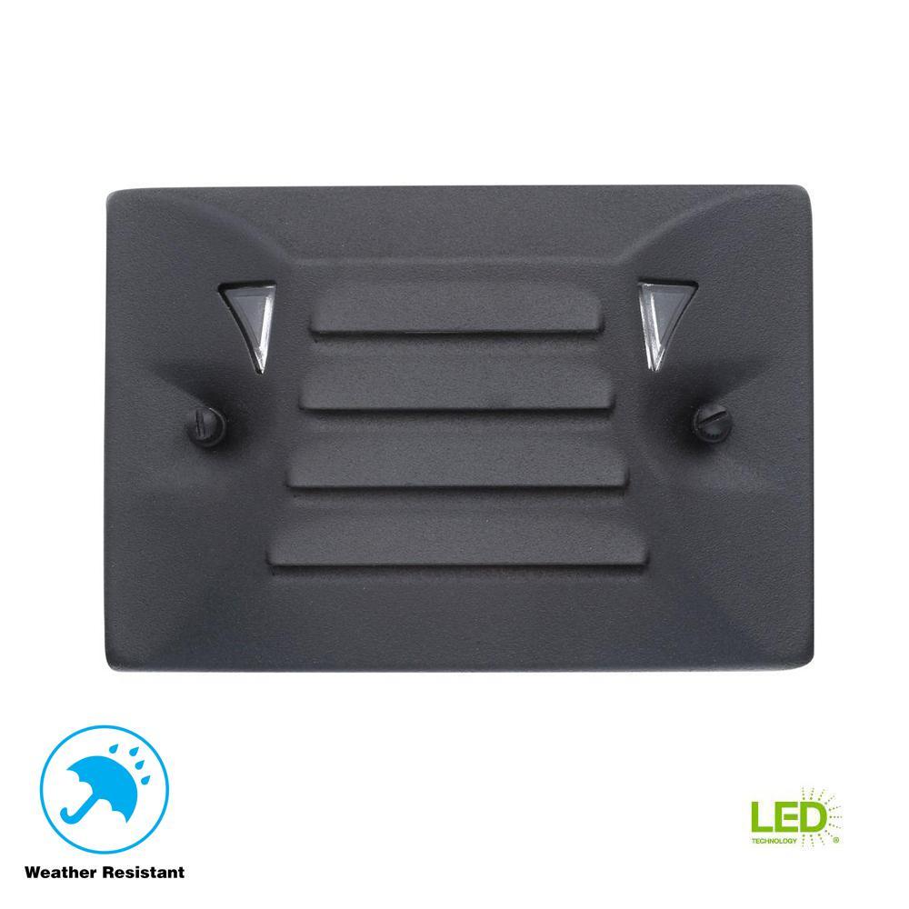 Hampton Bay Low Voltage Black Outdoor Integrated Led Half Brick Deck Or Step Light