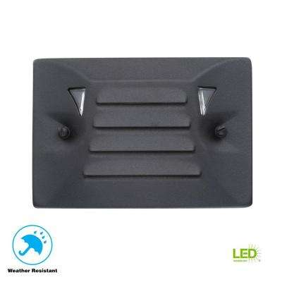 Low-Voltage Black Outdoor Integrated LED Half Brick Deck or Step Light