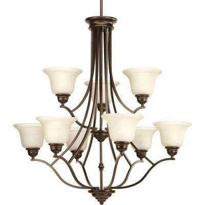 Spirit Collection 9-Light Antique Bronze Chandelier with Light Umber Etched Glass
