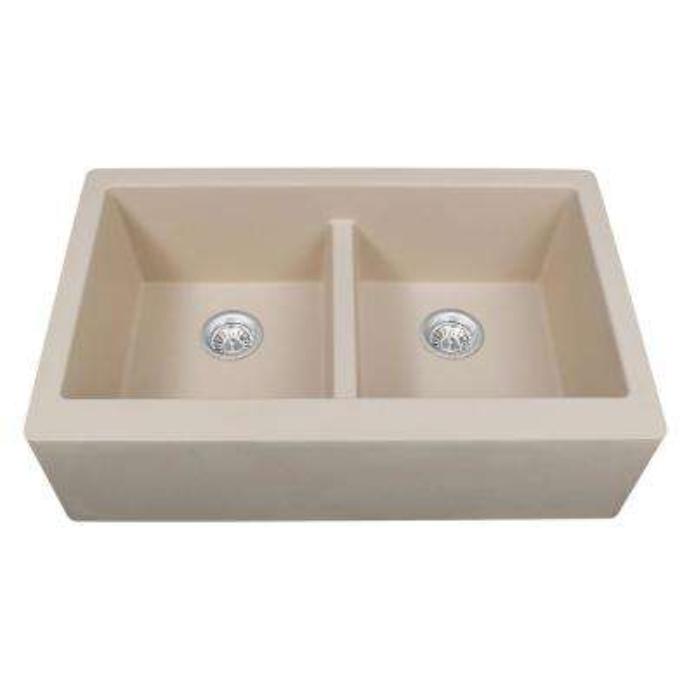 Farmhouse Apron Front Quartz Composite 34 in. Double Bowl Kitchen Sink in Bisque
