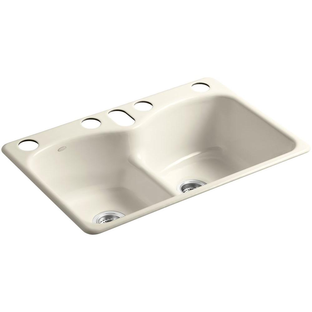 KOHLER Langlade Smart Divide Undermount Cast-Iron 33 in. 6-Hole Double Basin Kitchen Sink in Almond